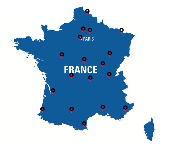 Carte des différents centres de transport camion disponibles en France